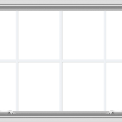 WDMA 48x30 (47.5 x 29.5 inch) White uPVC Vinyl Push out Awning Window with Colonial Grids Interior