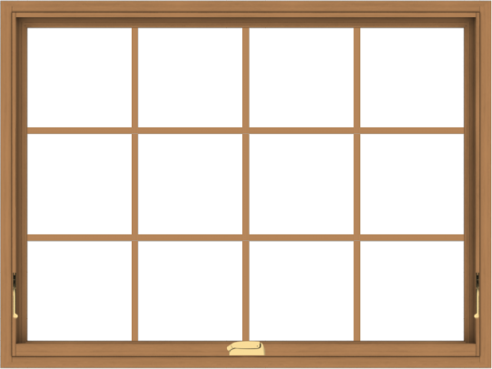 WDMA 48x36 (47.5 x 35.5 inch) Oak Wood Dark Brown Bronze Aluminum Crank out Awning Window with Colonial Grids Interior