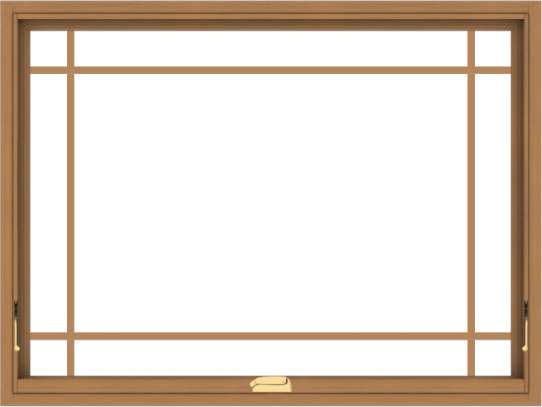 WDMA 48x36 (47.5 x 35.5 inch) Oak Wood Dark Brown Bronze Aluminum Crank out Awning Window with Prairie Grilles