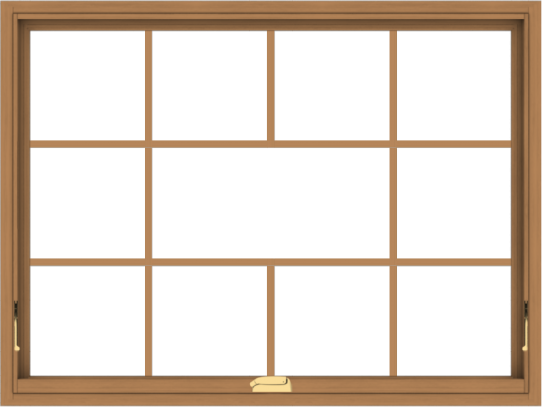 WDMA 48x36 (47.5 x 35.5 inch) Oak Wood Dark Brown Bronze Aluminum Crank out Awning Window without Grids with Victorian Grills