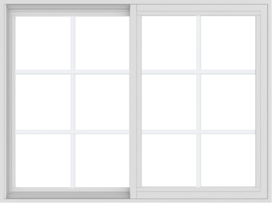 WDMA 48x36 (47.5 x 35.5 inch) Vinyl uPVC White Slide Window with Colonial Grids Exterior