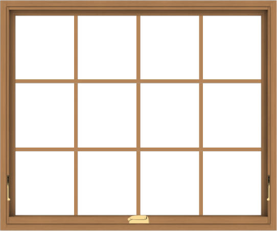 WDMA 48x40 (47.5 x 39.5 inch) Oak Wood Dark Brown Bronze Aluminum Crank out Awning Window with Colonial Grids Interior