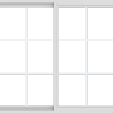 WDMA 48x42 (47.5 x 41.5 inch) Vinyl uPVC White Slide Window with Colonial Grids Exterior