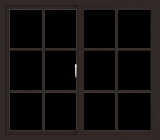 WDMA 48x42 (47.5 x 41.5 inch) Vinyl uPVC Dark Brown Slide Window with Colonial Grids Exterior