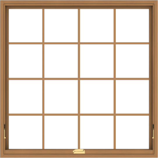 WDMA 48x48 (47.5 x 47.5 inch) Oak Wood Dark Brown Bronze Aluminum Crank out Awning Window with Colonial Grids Interior