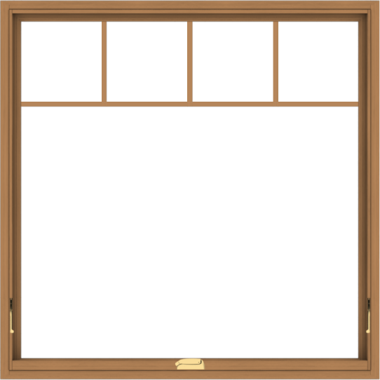 WDMA 48x48 (47.5 x 47.5 inch) Oak Wood Dark Brown Bronze Aluminum Crank out Awning Window with Fractional Grilles