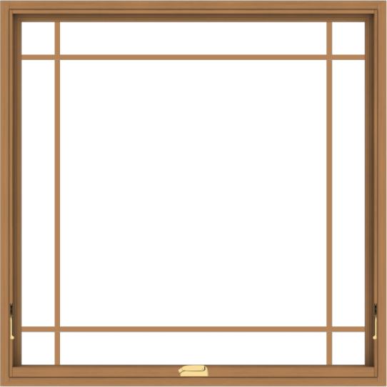 WDMA 48x48 (47.5 x 47.5 inch) Oak Wood Dark Brown Bronze Aluminum Crank out Awning Window with Prairie Grilles