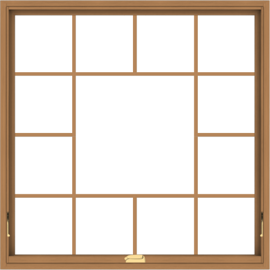 WDMA 48x48 (47.5 x 47.5 inch) Oak Wood Dark Brown Bronze Aluminum Crank out Awning Window without Grids with Victorian Grills