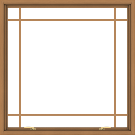 WDMA 48x48 (47.5 x 47.5 inch) Oak Wood Green Aluminum Push out Awning Window with Prairie Grilles