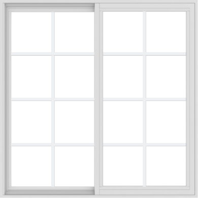 WDMA 48x48 (47.5 x 47.5 inch) Vinyl uPVC White Slide Window with Colonial Grids Exterior