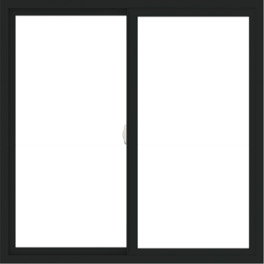 WDMA 48x48 (47.5 x 47.5 inch) Vinyl uPVC Black Slide Window without Grids Interior