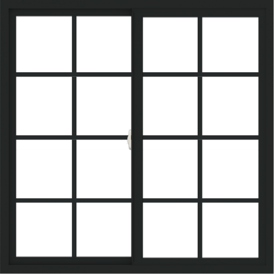 WDMA 48x48 (47.5 x 47.5 inch) Vinyl uPVC Black Slide Window with Colonial Grids Exterior