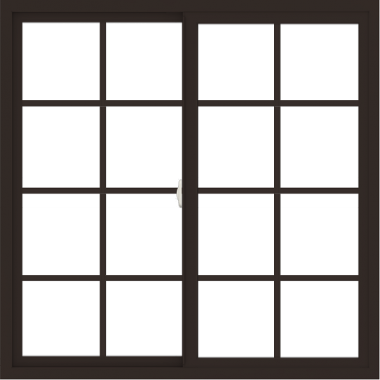 WDMA 48x48 (47.5 x 47.5 inch) Vinyl uPVC Dark Brown Slide Window with Colonial Grids Exterior