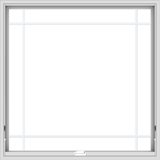 WDMA 48x48 (47.5 x 47.5 inch) White Vinyl uPVC Crank out Awning Window with Prairie Grilles
