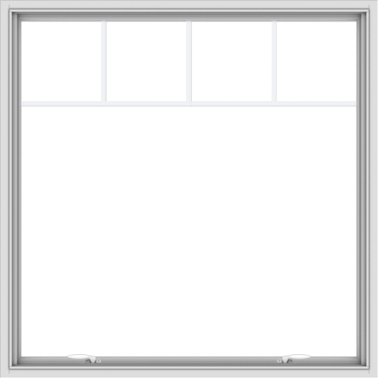 WDMA 48x48 (47.5 x 47.5 inch) White uPVC Vinyl Push out Awning Window with Fractional Grilles