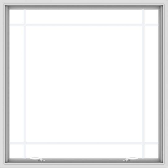 WDMA 48x48 (47.5 x 47.5 inch) White uPVC Vinyl Push out Awning Window with Prairie Grilles