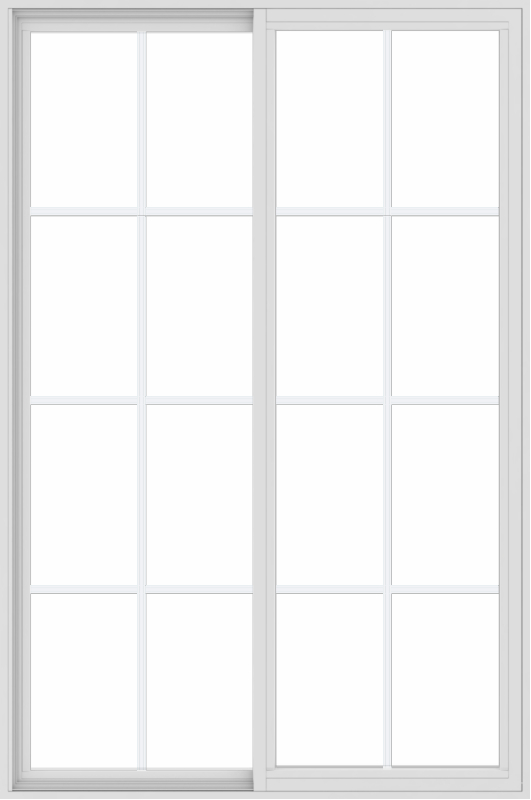 WDMA 48x72 (47.5 x 71.5 inch) Vinyl uPVC White Slide Window with Colonial Grids Exterior
