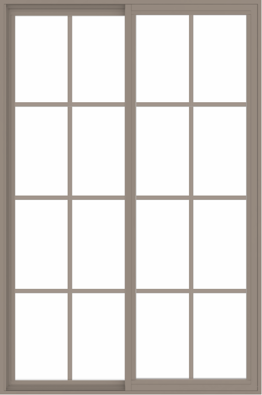 WDMA 48x72 (47.5 x 71.5 inch) Vinyl uPVC Brown Slide Window with Colonial Grids Exterior