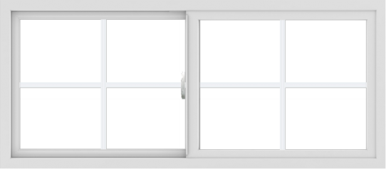 WDMA 54x24 (53.5 x 23.5 inch) Vinyl uPVC White Slide Window with Colonial Grids Exterior