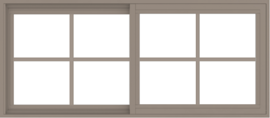 WDMA 54x24 (53.5 x 23.5 inch) Vinyl uPVC Brown Slide Window with Colonial Grids Exterior