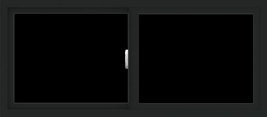 WDMA 54x24 (53.5 x 23.5 inch) Vinyl uPVC Black Slide Window without Grids Interior