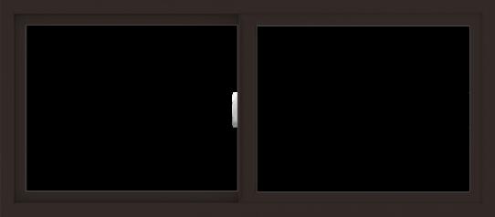 WDMA 54x24 (53.5 x 23.5 inch) Vinyl uPVC Dark Brown Slide Window without Grids Interior