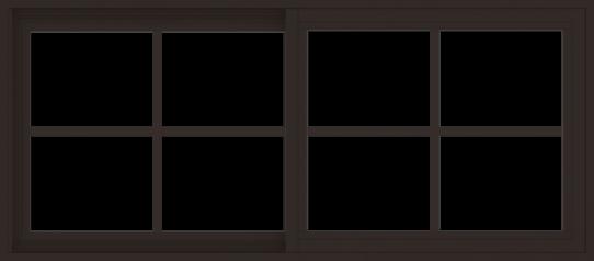 WDMA 54x24 (53.5 x 23.5 inch) Vinyl uPVC Dark Brown Slide Window with Colonial Grids Exterior