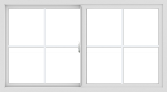 WDMA 54x30 (53.5 x 29.5 inch) Vinyl uPVC White Slide Window with Colonial Grids Exterior