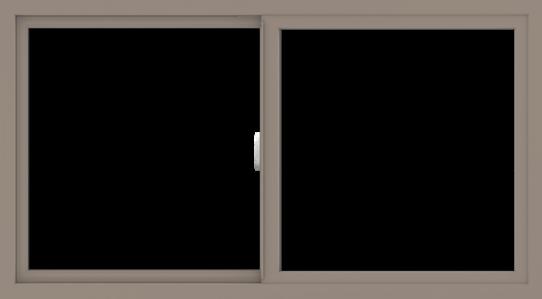 WDMA 54x30 (53.5 x 29.5 inch) Vinyl uPVC Brown Slide Window without Grids Interior
