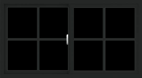 WDMA 54x30 (53.5 x 29.5 inch) Vinyl uPVC Black Slide Window with Colonial Grids Exterior