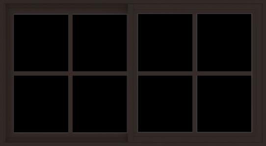 WDMA 54x30 (53.5 x 29.5 inch) Vinyl uPVC Dark Brown Slide Window with Colonial Grids Exterior