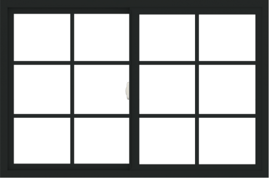 WDMA 54x36 (53.5 x 35.5 inch) Vinyl uPVC Black Slide Window with Colonial Grids Exterior