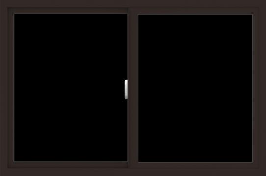 WDMA 54x36 (53.5 x 35.5 inch) Vinyl uPVC Dark Brown Slide Window without Grids Interior