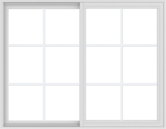 WDMA 54x42 (53.5 x 41.5 inch) Vinyl uPVC White Slide Window with Colonial Grids Exterior