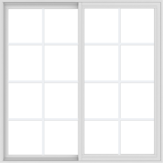 WDMA 54x54 (53.5 x 53.5 inch) Vinyl uPVC White Slide Window with Colonial Grids Exterior