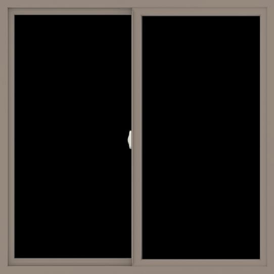 WDMA 54x54 (53.5 x 53.5 inch) Vinyl uPVC Brown Slide Window without Grids Interior