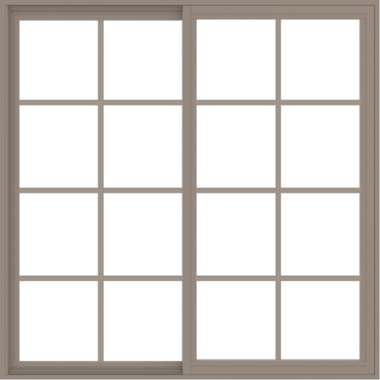 WDMA 54x54 (53.5 x 53.5 inch) Vinyl uPVC Brown Slide Window with Colonial Grids Exterior