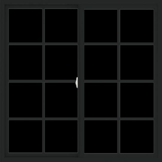 WDMA 54x54 (53.5 x 53.5 inch) Vinyl uPVC Black Slide Window with Colonial Grids Exterior