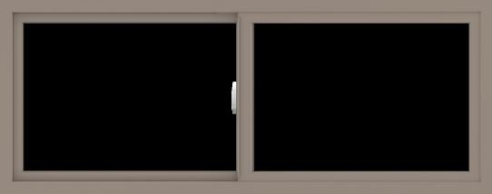 WDMA 60x24 (59.5 x 23.5 inch) Vinyl uPVC Brown Slide Window without Grids Interior