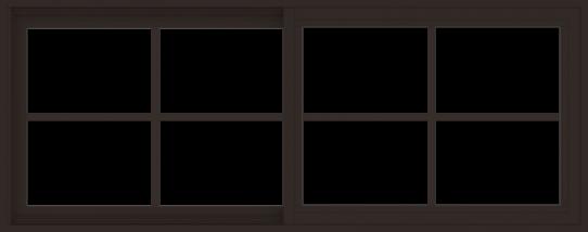 WDMA 60x24 (59.5 x 23.5 inch) Vinyl uPVC Dark Brown Slide Window with Colonial Grids Exterior