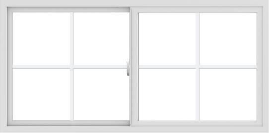 WDMA 60x30 (59.5 x 29.5 inch) Vinyl uPVC White Slide Window with Colonial Grids Exterior