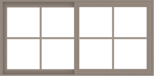 WDMA 60x30 (59.5 x 29.5 inch) Vinyl uPVC Brown Slide Window with Colonial Grids Exterior