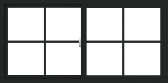 WDMA 60x30 (59.5 x 29.5 inch) Vinyl uPVC Black Slide Window with Colonial Grids Exterior