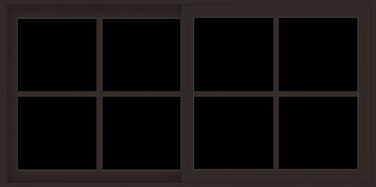 WDMA 60x30 (59.5 x 29.5 inch) Vinyl uPVC Dark Brown Slide Window with Colonial Grids Exterior
