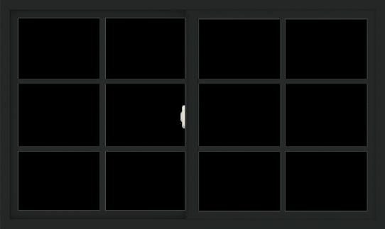 WDMA 60x36 (59.5 x 35.5 inch) Vinyl uPVC Black Slide Window with Colonial Grids Exterior