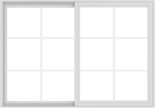 WDMA 60x42 (59.5 x 41.5 inch) Vinyl uPVC White Slide Window with Colonial Grids Exterior
