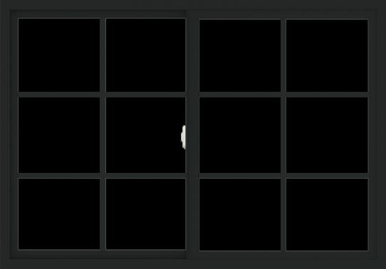 WDMA 60x42 (59.5 x 41.5 inch) Vinyl uPVC Black Slide Window with Colonial Grids Exterior