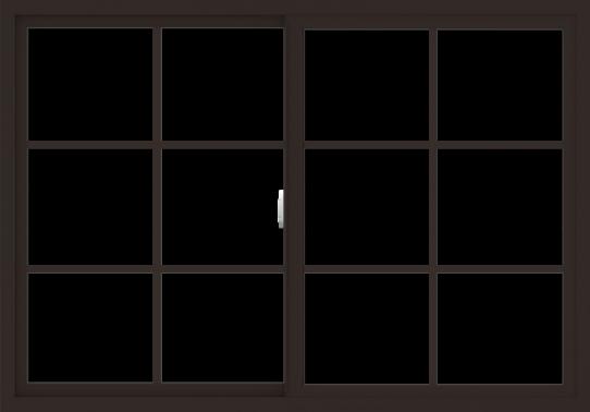 WDMA 60x42 (59.5 x 41.5 inch) Vinyl uPVC Dark Brown Slide Window with Colonial Grids Exterior