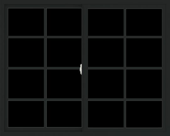 WDMA 60x48 (59.5 x 47.5 inch) Vinyl uPVC Black Slide Window with Colonial Grids Exterior