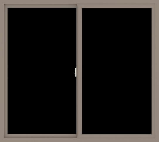 WDMA 60x54 (59.5 x 53.5 inch) Vinyl uPVC Brown Slide Window without Grids Interior